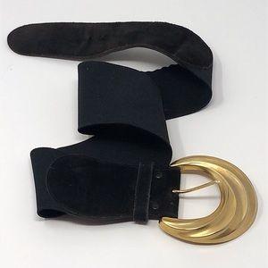 Vintage black belt with huge gold buckle